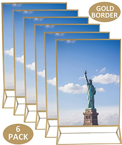 5x7 Inches Gold Acrylic Picture Photo Double-Sided Frames | Perfect for Weddings, Offices, Restaurants, Businesses, Anniversaries, Graduations and Trips | More Durable Than Glass | 6 - Numbers Glasses Frames On