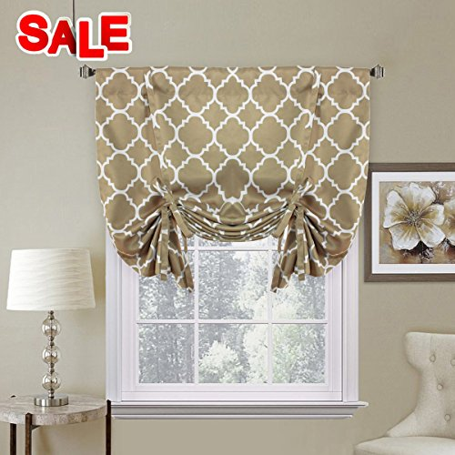 H.Versailtex Printed Blackout Room Darkening Tie Up Curtains Window Panel Drapes - (Latte Curtains) Set of 1 Panel - 42 inch Wide by 63 inch Long - Moroccan Tile Quatrefoil Pattern in Taupe (Kitchen Panels Curtain)