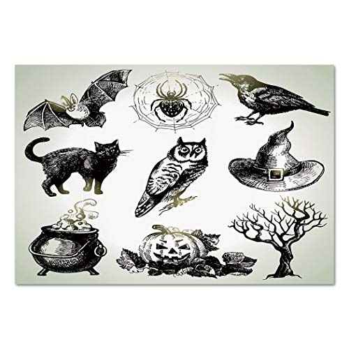 Large Wall Mural Sticker [ Vintage Halloween,Halloween Related Pictures Drawn by Hand Raven Owl Spider Black Cat Decorative,Black White ] Self-adhesive Vinyl Wallpaper / Removable Modern Decorating -
