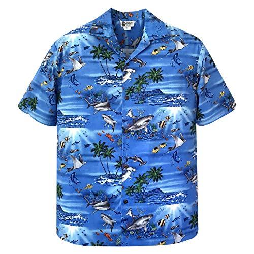 3XL Blue Great White Hammerhead Shark Stingray Hawaiian Shirt ()