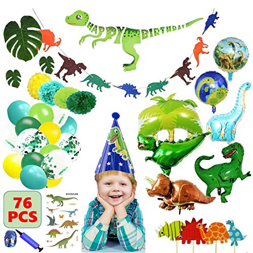 Dinosaur Birthday Party Supplies Decorations Set Kit for Boys Kids Toddlers Baby Shower, Dino Theme Party Favors Decor Pack with Cake Topper, Latex Foil Balloons, -