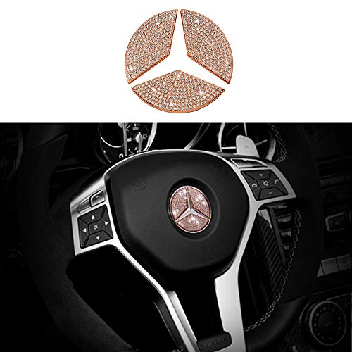 TopDall Steering Wheel Unique Crystal Badge Emblem Overlay Decal Decoration Cover Sticker Trim for Mercedes-Benz A, B,C, E, S, CLA, GLA, GL, ML, GLE, GLC,GLK Class ()