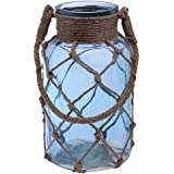 Boston International Cape Cod Style Net Covered Lantern, 10-Inch, Blue