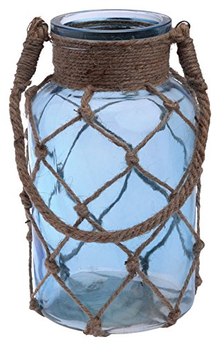 Boston International Cape Cod Style Net Covered Lantern, 10-Inch, Blue (Covered Jar Glass)