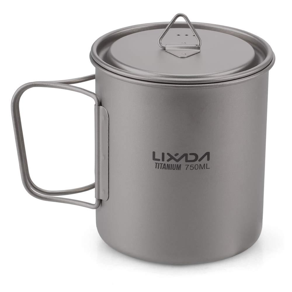 Lixada Titanium Cup Camping Mug Ultralight Foldable Handle with Lid and Stuff Sack Outdoor Titanium Pot (300ml-750ml Optional) (750ML) by Lixada