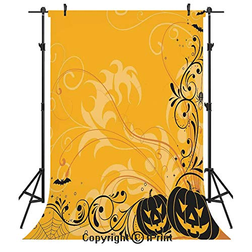 Halloween Decorations Photography Backdrops,Carved Pumpkins with Floral Patterns Bats and Webs Horror Artwork,Birthday Party Seamless Photo Studio Booth Background Banner 6x9ft,Orange Black -