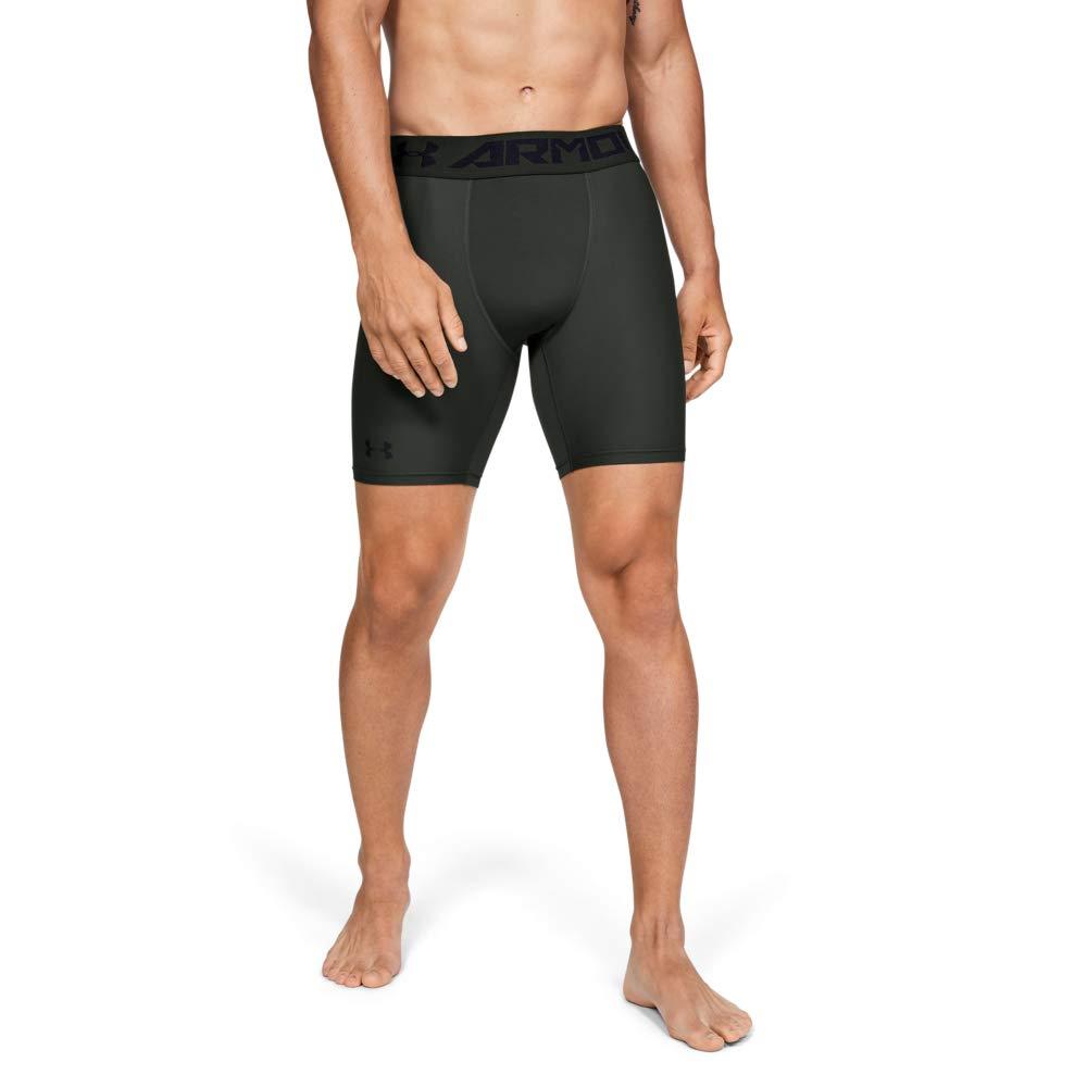 Under Armour Men's HeatGear Armour 2.0 Mid Shorts, Baroque Green (310)/Black, Medium by Under Armour