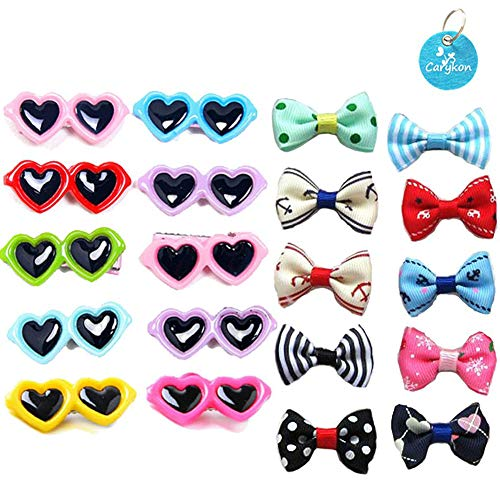 Carykon 20Pcs Dog Hair Clips Heart Sunglass Pet Hair Bows Alligator Hairpins Small Animal Hair Barrettes Pet Hair Accessories, Multicolor