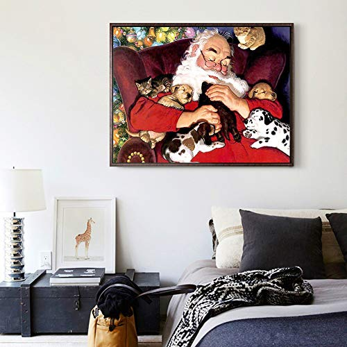 Santa Claus Diamond Painting Christmas by Number Kits Halloween House Decoration Gift Full Square Resin Rhinestone Diamond Needlework Handcraft (Multicolor) ()