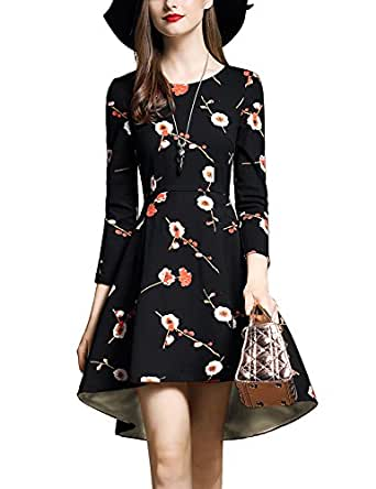 DanMunier Women's 3/4 Sleeve Floral Front Short Cocktail Party Dress Fall Winter 7678 (M, Black)