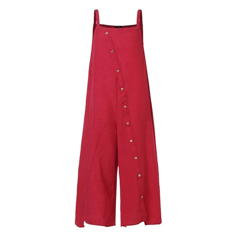 Women Jumpsuits Wide Leg Bib Pants Onesies Cotton Line Summer Loose Rompers Long Pant