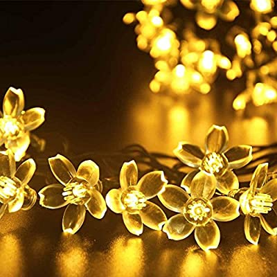Dephen Solar Flower String Lights, 22ft 50 LED Peach Blossom Fairy Christmas Waterproof Lights Solar Powered String lights for Garden, Lawn, Patio, Wedding,Party, Christmas Tree,Home Decoration