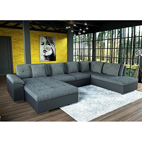 Grand canapé d angle en U SMILE gris et noir Amazon Cuisine