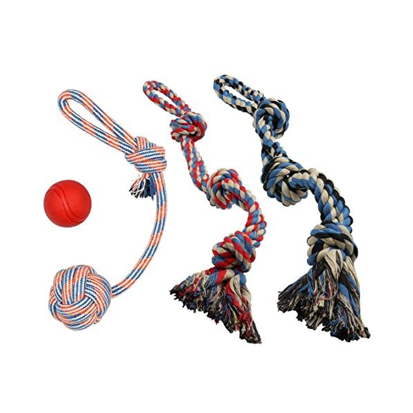 XL DOG ROPE TOYS FOR AGGRESSIVE CHEWERS - LARGE DOG BALL FOR LARGE AND MEDIUM DOGS - BENEFITS NON-PROFIT DOG RESCUE - LARGE FLOSS ROPE FOR DOGS DENTAL HEALTH - 100% COTTON ROPE TOY FOR LARGE DOGS 2
