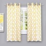 """yellow insulated grommet curtains - DriftAway Geo Trellis Room Darkening/Thermal Insulated Grommet Unlined Window Curtains, Set of Two Panels, each 52""""x63"""" (Yellow)"""