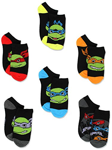 Teenage Mutant Ninja Turtles Boys 6 pk Socks (4-6 Toddler (Shoe: 7-10), Multicolored)