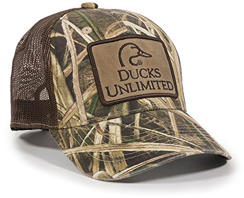 Ducks Unlimited Hat - Steelcut Mossy Oak Shadow Grass Blades Duck Unlimited Camoflauge Patch Visor Cap Hat