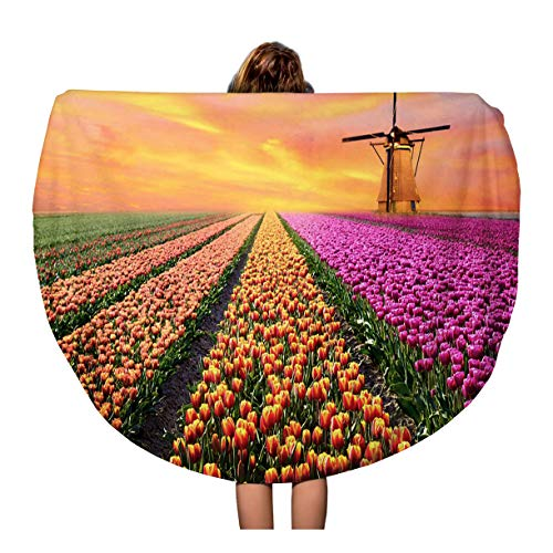 Semtomn 60 Inches Round Beach Towel Blanket Magical Landscape Sunrise Over Tulip Field in The Netherlands Travel Circle Circular Towels Mat Tapestry Beach Throw ()