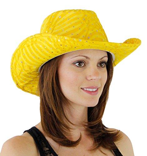 Glitter Sequin Trim Cowboy Hat Yellow One Size]()