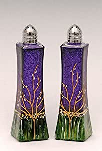 Glass Salt and Pepper Shakers Purple Set of 2