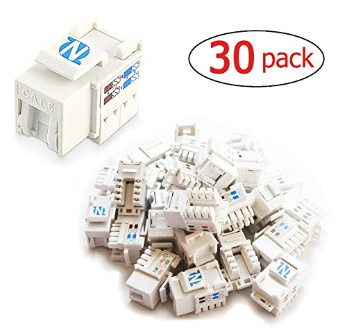 25 Keystone Wall Plates - 30-Pack Cat6 RJ45 Keystone Jack in White for Wall plate and Patch panel by NetEx Quality
