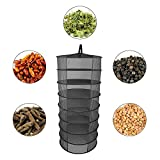 AOLVO Hanging Herb Drying Rack Dry Net,Clothes Drying Rack 8 Layer Black Collapsible Dryer Mesh Tray Mesh Folding Bag For Herbs Buds Plants Flowers Clothes