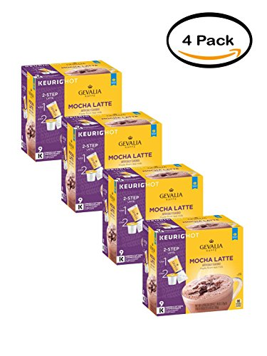 PACK OF 4 - Gevalia Mocha Latte Espresso Coffee K-Cup Packs & Froth Packets 9 ct Box