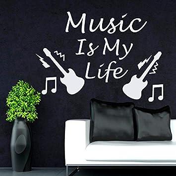 Musik Noten Wand Aufkleber Zitat Music Is My Life Vinyl Aufkleber
