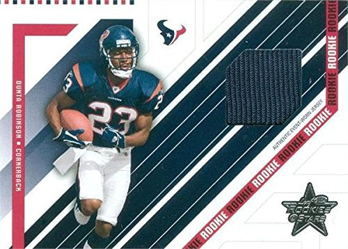 - Dunta Robinson player worn jersey patch football card (Houston Texans) 2004 Leaf Rookies & Stars #268