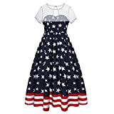 Mose Dress for Women, Ladies Mesh Stitching Short-Sleeved Flag Print Vintage Loose Casual Tops Fashion Flag Mesh Patchwork Evening Party Dress (White, S)