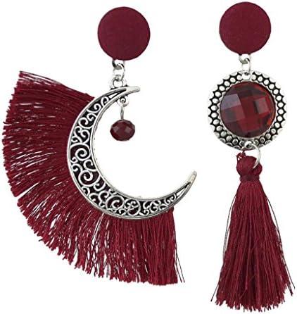 全3色 女性 ピアス ジュエリー ユニークデザイン 非対称 耳飾り ボヘミアン 魅力 タッセル - 赤