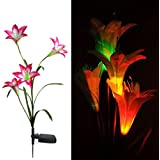 MaxSale Solar LED Lily Flower Light Color Changing Energy Saving LED Lamp