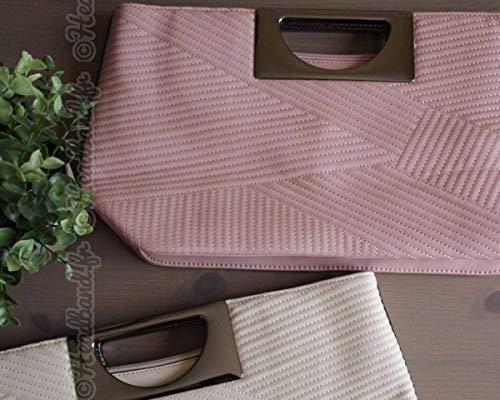 Hedea imitation rose métal Sac avec et chaînette cuir surpiqûres 1wCPqw
