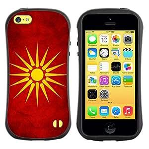 Fuerte Suave TPU GEL Caso Carcasa de Protección Funda para Apple Iphone 5C / Business Style National Flag Nation Country Macedonia