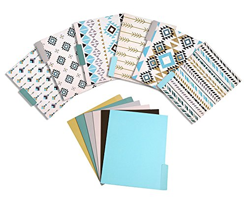 12 Pack File Folder Set – Decorative Designer Letter Size Folders Assorted ½ Cut Top Tab File Organizers - 11.5 x 9 Inch
