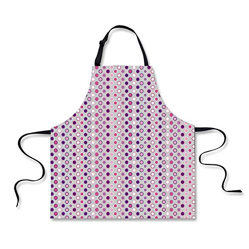 iPrint Cooking Apron,Abstract,Nostalgic Polka Dots Little Ci
