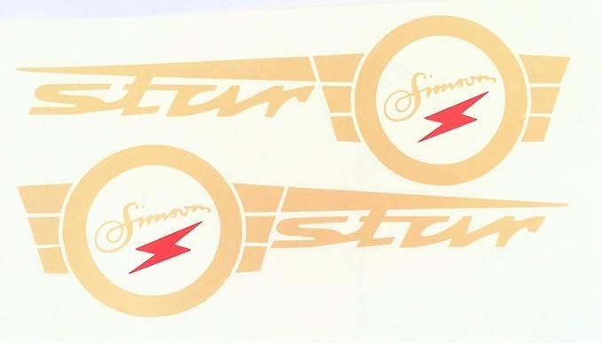 Aufkleber Klebefolie Sticker Für Simson Star Gold Rot Für Tank Links Und Rechts Auto