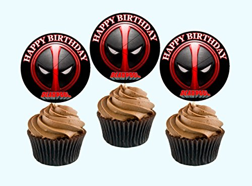Price comparison product image 12 Happy Birthday DEADPOOL Inspired Party Picks,  Cupcake Picks,  Cupcake Toppers