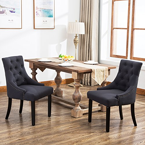 Cheap Mecor Fabric Dining Chair Leisure Padded Chair with Armrest,Set of 2,Tufted Provincial Chair European Style French Living Room Sofa,Navy