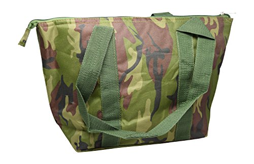 Large Reusable Zippered Top Insulated Lunch Bag (Green Camouflage)