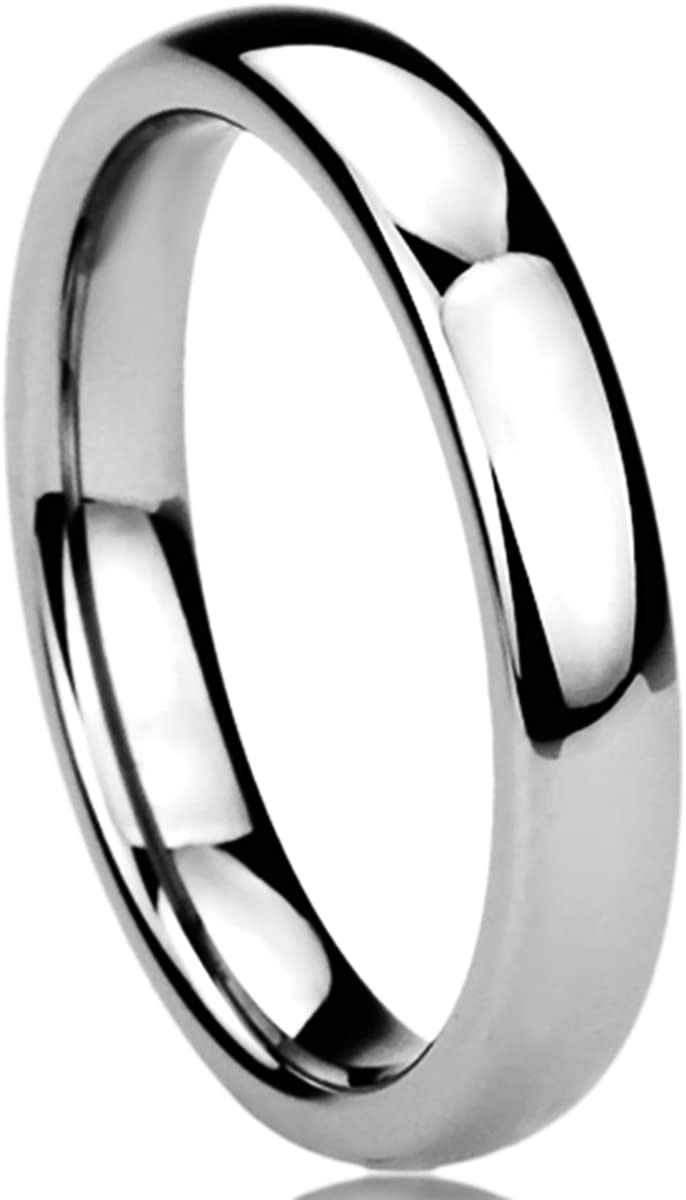 Prime Pristine Titanium Wedding Band Ring for Women High Polished Classy Domed Ring for Woman