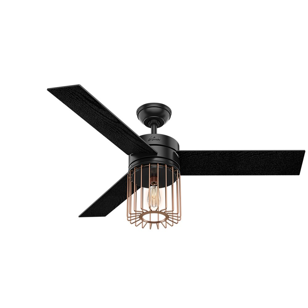 Hunter Indoor Ceiling Fan with LED Light and remote control – Ronan 52 inch, Black, 59239
