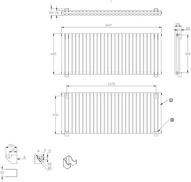 Hudson Reed Radiador Revive Horizontal con Calefacci/ón de Dise/ño Moderno Acabado Negro Calefacci/ón Dise/ño de Columna 652W 635 x 415mm