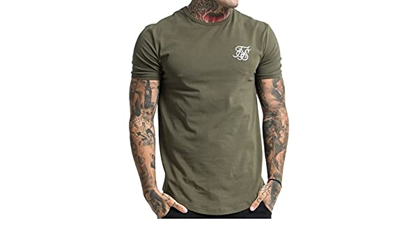 Sik Silk Mens Gym Logo T-Shirt, Green, X-Large at Amazon Mens Clothing store: