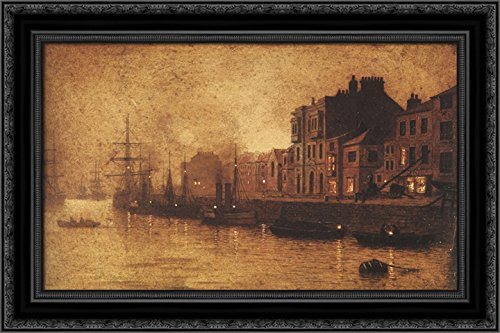 - Evening, Whitby Harbour 24x18 Black Ornate Wood Framed Canvas Art by John Atkinson Grimshaw
