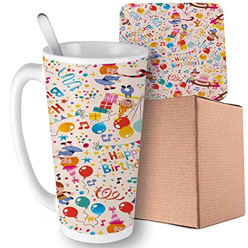 Birthday,Patchwork Inspired Design with Owl Birds Elephant and Flowers Theme, Pale Blue and Sky Blue Ceramic Cup with Spoon & Coaster Creative Milk Coffee Tea Unique Porcelain Cup Mug 16oz