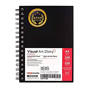 "MEMX 5.5""X8.5"" Sketch Book, 120 Pages (110gsm), Spiral Bound Artist Sketch Pad, Durable Acid Free Drawing Paper for Drawing, Writing, Painting, Sketching or Doodling, Warm White"