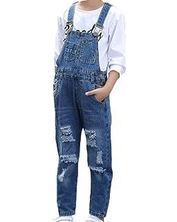 Salopette En Jeans Fille Enfant Combinaison Pantalons Poche A
