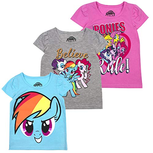 My Little Pony Girls' T-Shirt (Pack of 3) 5 Grey