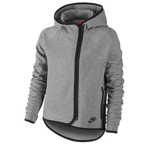 Girls Nike Tech Fleece FZ Cape Hoodie Grey Heather 669804-063 (S)